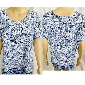 Croft & Barrow blouse size XL Blue gray and white